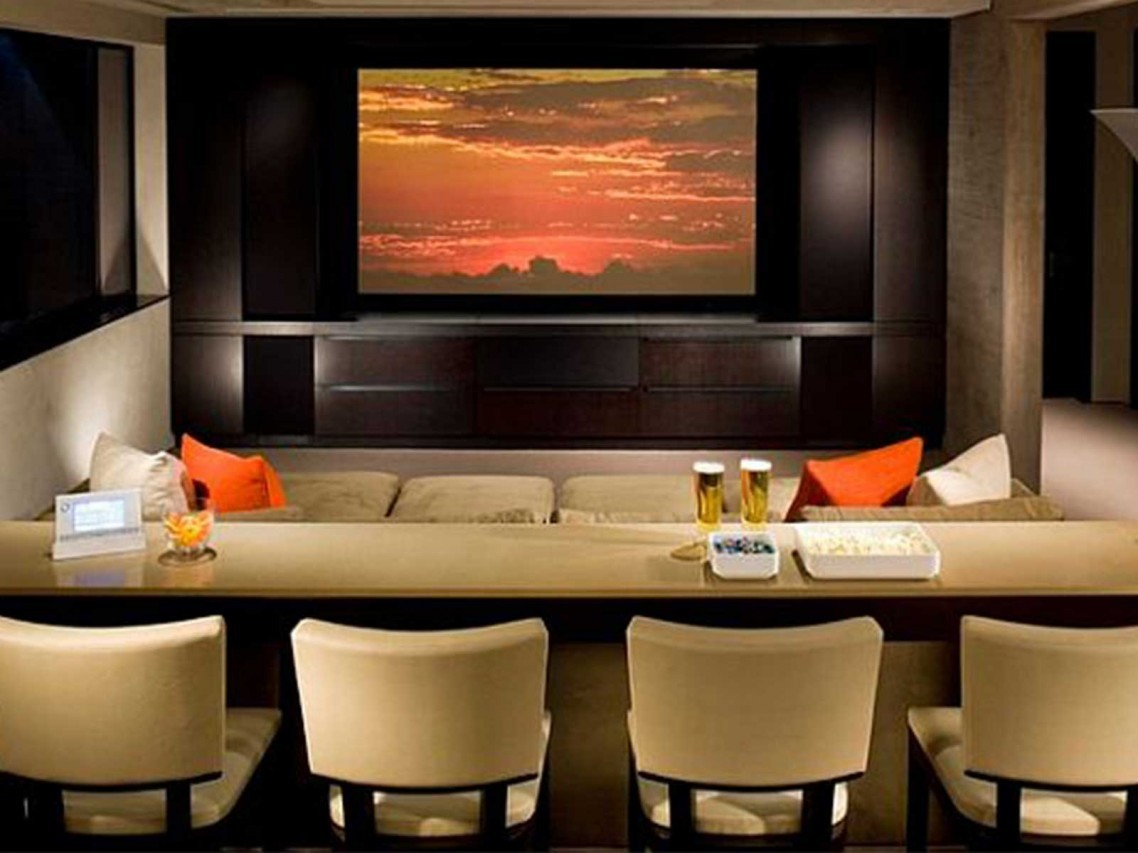 Astonishing Home Theatre Living Room Ideas With Cream Wooden Rectangle Bar Table Design Be